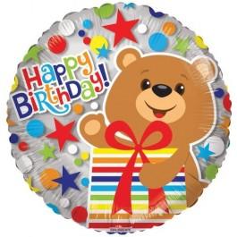 Круг Happy birthday! Медведь с подарком