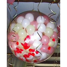 Шар-сюрприз 85 см с мелкими шариками и искусственными лепестками внутри